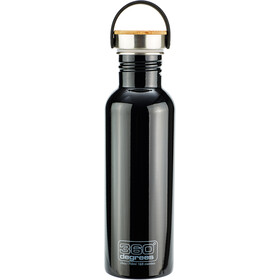 360° degrees Stainless Borraccia con tappo in bamboo, 750ml, black